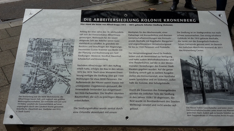 Gedenktafel - Kolonie Kronenberg
